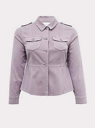 Slate Grey Twill Peplum Utility Jacket, GRAY RIDGE, flat
