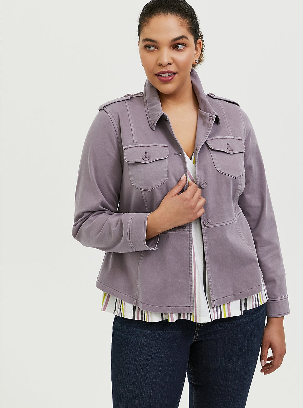 Slate Grey Twill Peplum Utility Jacket, , hi-res