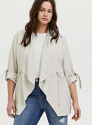 Ivory Twill Drape Front Anorak, GREY, alternate
