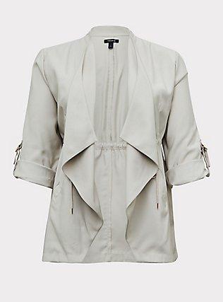 Ivory Twill Drape Front Anorak, GREY, flat