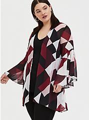Plus Size Burgundy Purple Multi Geo Chiffon Kimono, GEO - WHITE, alternate