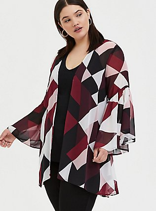 Burgundy Purple Multi Geo Chiffon Kimono, GEO - WHITE, alternate