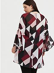Burgundy Purple Multi Geo Chiffon Kimono, GEO - WHITE, alternate