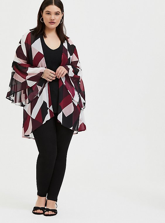 Plus Size Burgundy Purple Multi Geo Chiffon Kimono, , hi-res