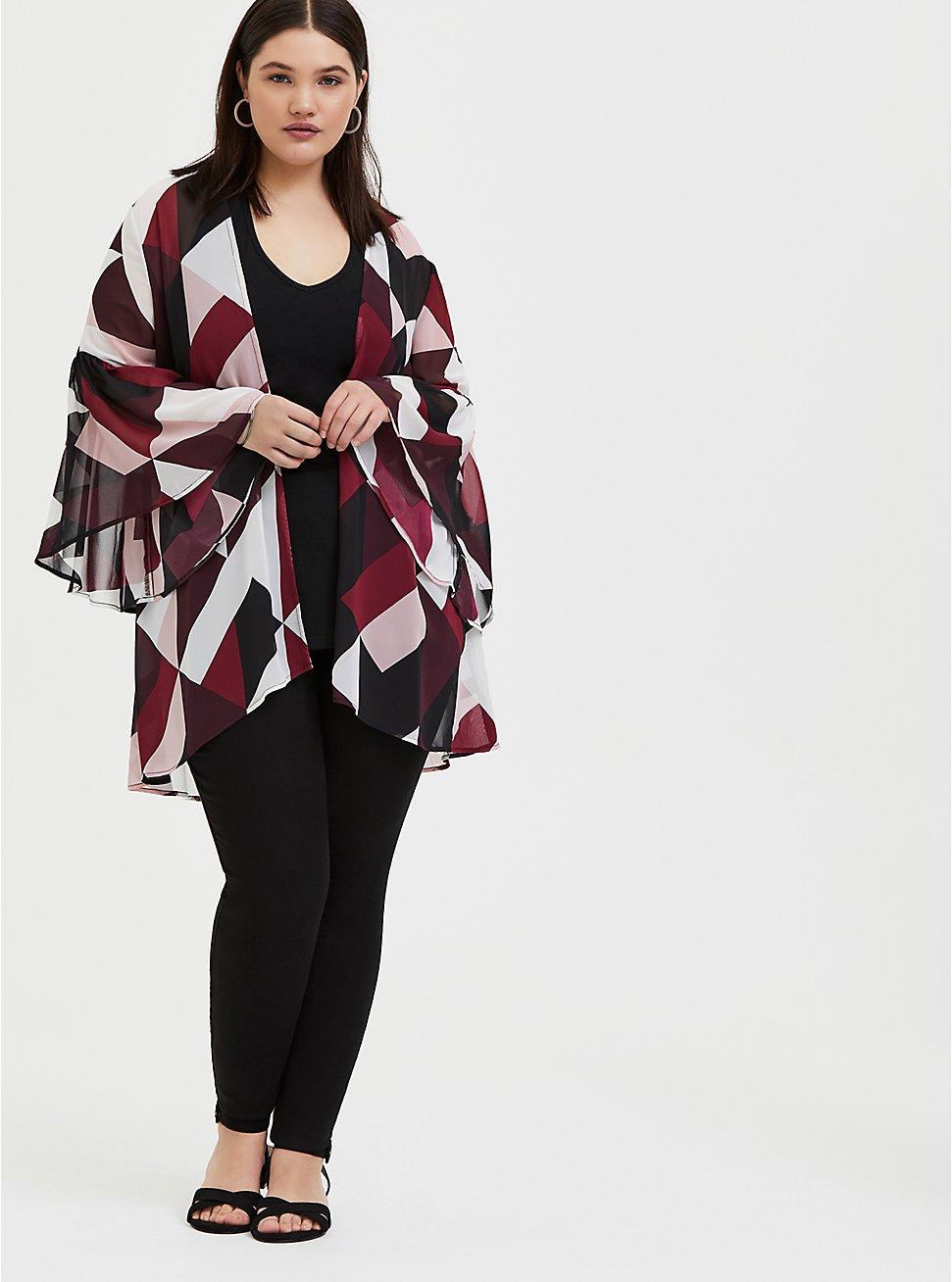Burgundy Purple Multi Geo Chiffon Kimono, GEO - WHITE, hi-res
