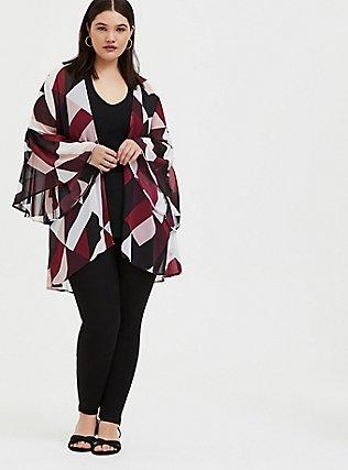 Plus Size Burgundy Purple Multi Geo Chiffon Kimono, GEO - WHITE, hi-res