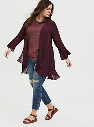 Burgundy Red Crinkled Chiffon Kimono, WINETASTING, alternate