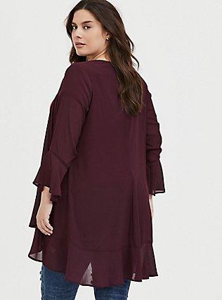Plus Size Burgundy Red Crinkled Chiffon Kimono, WINETASTING, alternate
