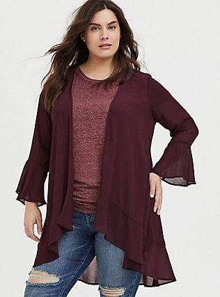Plus Size Burgundy Red Crinkled Chiffon Kimono, WINETASTING, hi-res