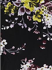 Black Floral Challis Button Front Midi Dress, FLORAL - BLACK, alternate
