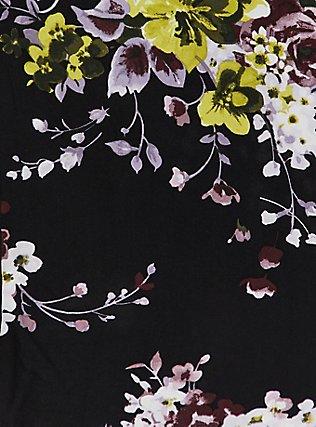 Plus Size Black Floral Challis Button Midi Dress, FLORAL - BLACK, alternate