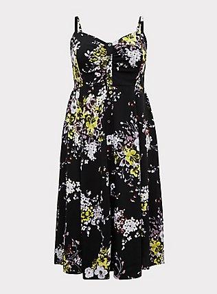 Plus Size Black Floral Challis Button Midi Dress, FLORAL - BLACK, flat
