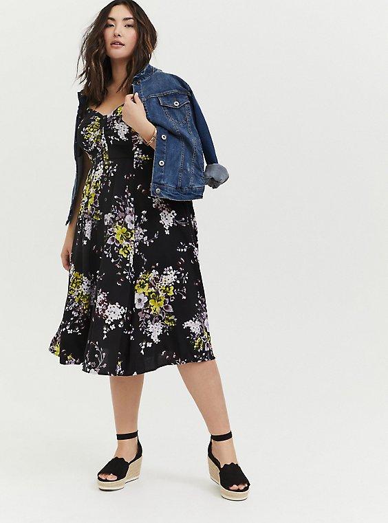 Black Floral Challis Button Front Midi Dress, , hi-res