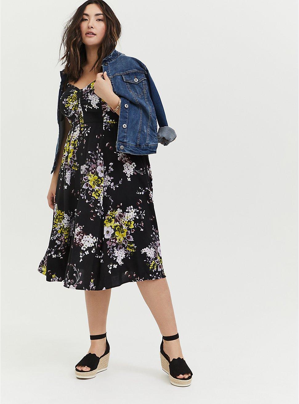 Black Floral Challis Button Front Midi Dress, FLORAL - BLACK, hi-res