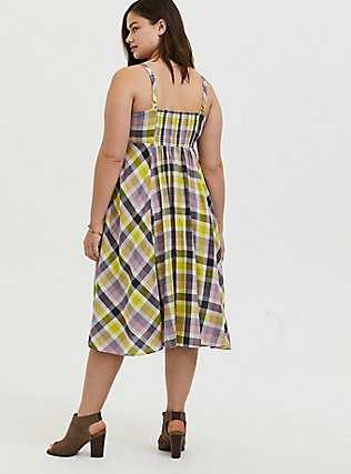 Plus Size Multi Plaid Challis Button Front Midi Dress, PLAID - WHITE, alternate