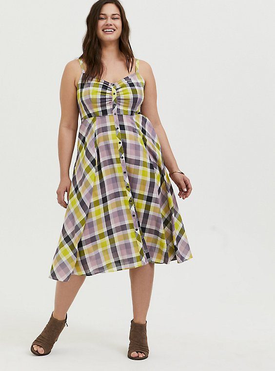 Multi Plaid Challis Button Front Midi Dress, , hi-res