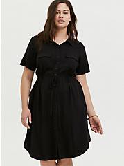 Black Twill Button Front Drawstring Shirt Dress, DEEP BLACK, alternate