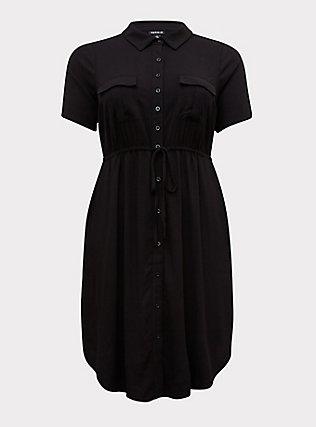 Black Twill Drawstring Shirt Dress, DEEP BLACK, flat