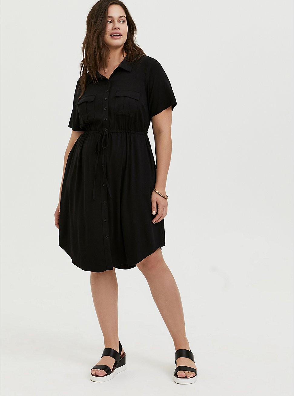 Black Twill Button Front Drawstring Shirt Dress, DEEP BLACK, hi-res