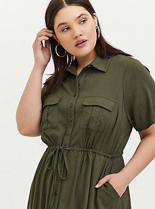 Plus Size Olive Green Twill Button-Front Shirt Dress, DEEP DEPTHS, alternate