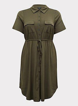 Plus Size Olive Green Twill Button-Front Shirt Dress, DEEP DEPTHS, flat