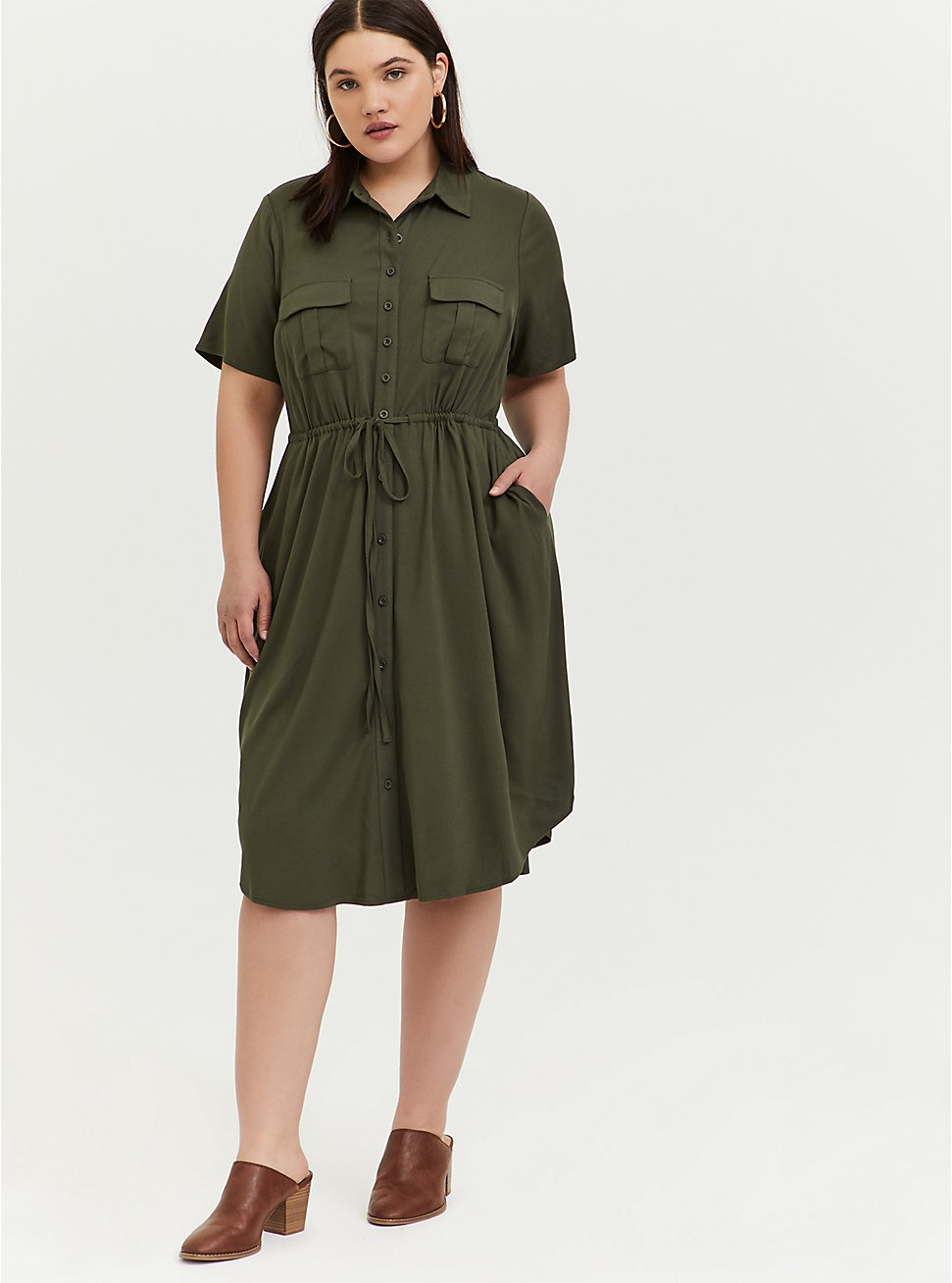 Plus Size Olive Green Twill Button Front Drawstring Shirt Dress, DEEP DEPTHS, hi-res