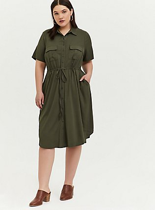 Plus Size Olive Green Twill Button-Front Shirt Dress, DEEP DEPTHS, hi-res