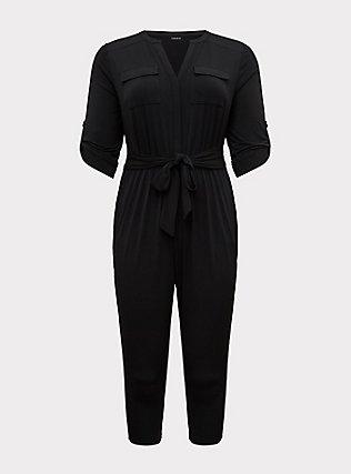 Harper - Black Studio Knit Jumpsuit, DEEP BLACK, flat