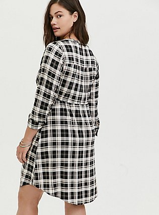 Plus Size Black & Ivory Plaid Challis Zip Front Drawstring Shirt Dress, PLAID - BLACK, alternate