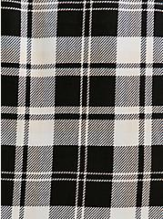 Black & Ivory Plaid Challis Zip Front Drawstring Shirt Dress, PLAID - BLACK, alternate