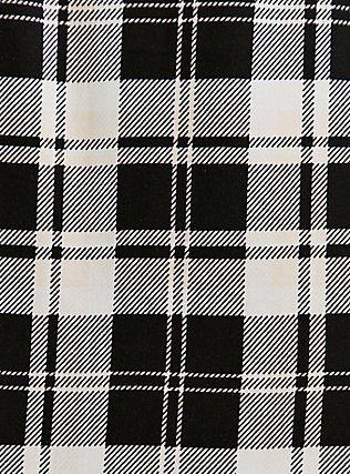 Plus Size Black & Ivory Plaid Zip Front Shirt Dress, PLAID - BLACK, alternate