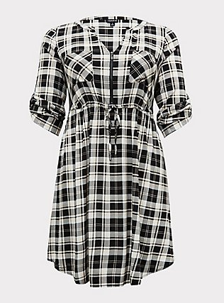 Plus Size Black & Ivory Plaid Challis Zip Front Drawstring Shirt Dress, PLAID - BLACK, flat
