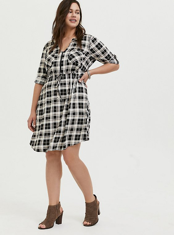 Black & Ivory Plaid Challis Zip Front Drawstring Shirt Dress, , hi-res