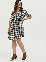 Black & Ivory Plaid Challis Zip Front Drawstring Shirt Dress, PLAID - BLACK, hi-res