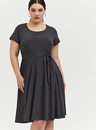 Plus Size Charcoal Grey Jersey Tie Front Skater Dress, CHARCOAL, alternate