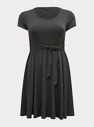 Plus Size Charcoal Grey Jersey Tie Front Skater Dress, CHARCOAL, flat