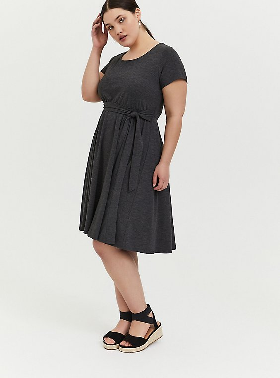 Charcoal Grey Jersey Tie Front Skater Dress, , hi-res