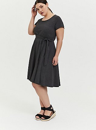 Plus Size Charcoal Grey Jersey Tie Front Skater Dress, CHARCOAL, hi-res