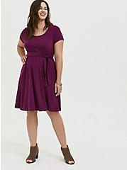 Plum Purple Jersey Tie Front Skater Dress, DARK PURPLE, alternate
