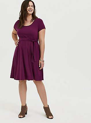 Plus Size Plum Purple Jersey Tie Front Skater Dress, DARK PURPLE, alternate