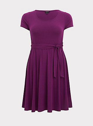 Plus Size Plum Purple Jersey Tie Front Skater Dress, DARK PURPLE, flat