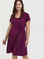 Plum Purple Jersey Tie Front Skater Dress, DARK PURPLE, hi-res