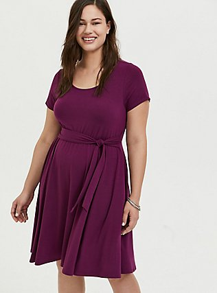 Plus Size Plum Purple Jersey Tie Front Skater Dress, DARK PURPLE, hi-res