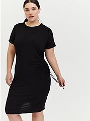 Black Jersey Drawstring Side T-Shirt Dress, DEEP BLACK, alternate