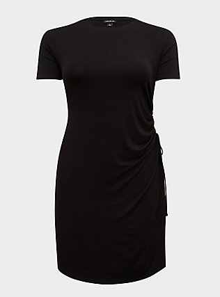 Black Jersey Drawstring Side T-Shirt Dress, DEEP BLACK, flat