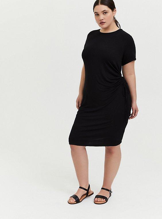 Black Jersey Drawstring Side T-Shirt Dress, DEEP BLACK, hi-res