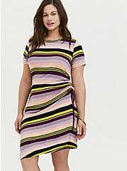 Multi Stripe Jersey Drawstring Side T-Shirt Dress, MULTI STRIPE, alternate