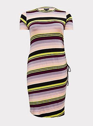 Multi Stripe Jersey Drawstring Side T-Shirt Dress, MULTI STRIPE, flat