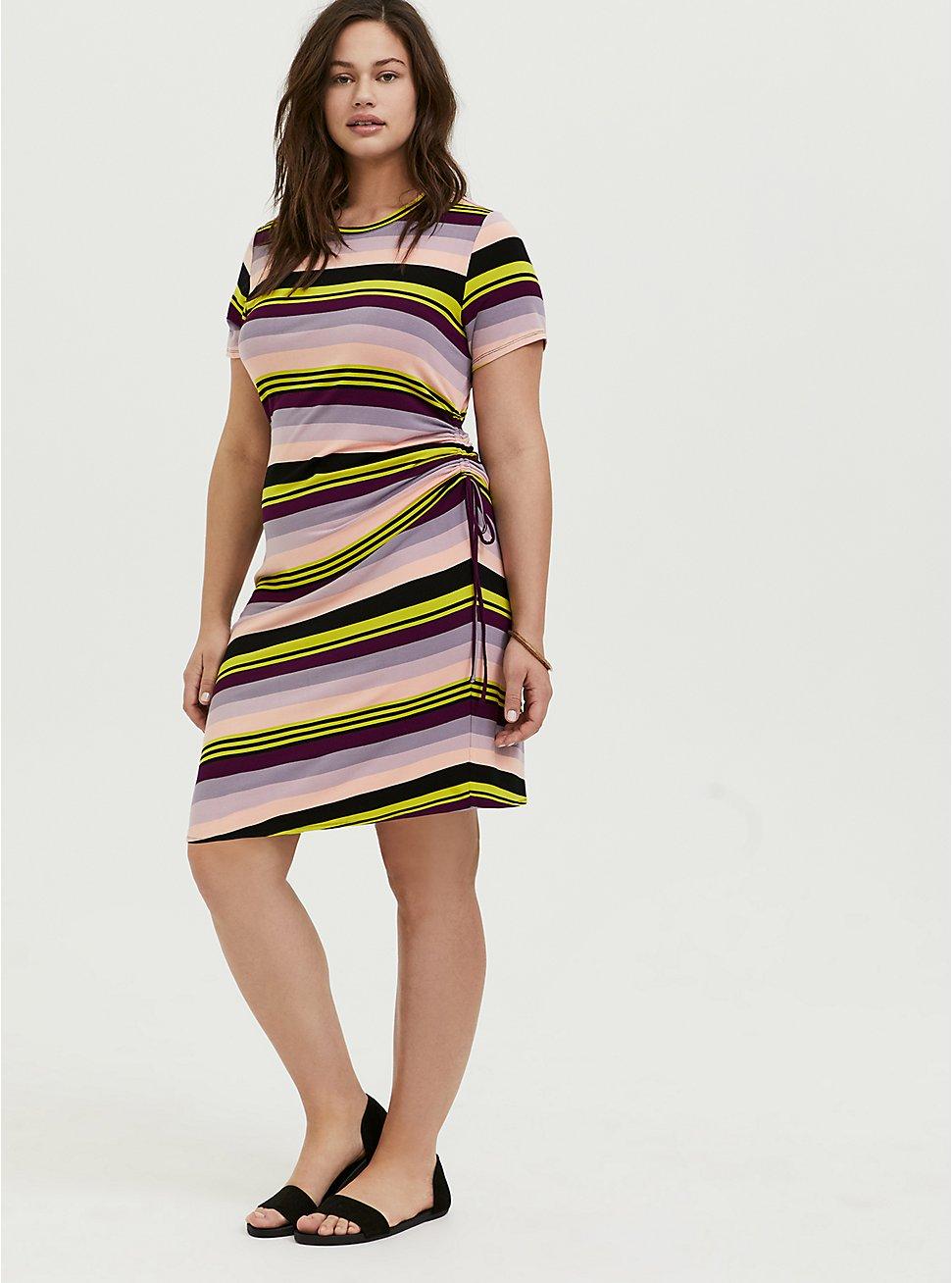 Multi Stripe Jersey Drawstring Side T-Shirt Dress, MULTI STRIPE, hi-res