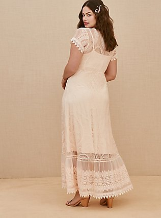 Plus Size Light Pink Lace Button Front Maxi Dress, NATURAL IVORY, alternate